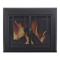 Pleasant Hearth Easton Fireplace Glass Door — For Masonry Fireplaces, Large, Midnight Black, Model EA-5012