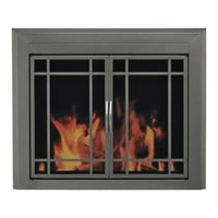 Pleasant Hearth Edinburg Fireplace Glass Door — For Masonry Fireplaces, Medium, Gunmetal, Model ED-5411