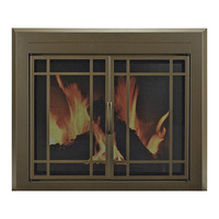 Pleasant Hearth Enfield Fireplace Glass Door — For Masonry Fireplaces, Large, Burnished Bronze, Model EN-5502
