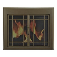 Pleasant Hearth Enfield Fireplace Glass Door — For Masonry Fireplaces, Large, Burnished Bronze, Model EN-5500