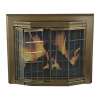Pleasant Hearth Grandior Fireplace Glass Door — For Masonry Fireplaces, Large, Antique Brass, Model GR-7202