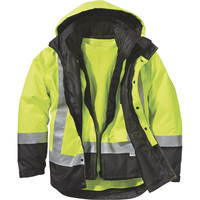 FREE SHIPPING — Gravel Gear Men's Class 3 High Visibility 4-in-1 Parka with 3M Scotchlite Reflective Material — Lime/Black