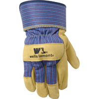Wells Lamont Pigskin Leather Palm Gloves — Brown/Black