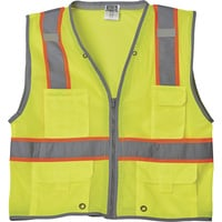 FREE SHIPPING — Gravel Gear HV Men's Class 2 High Visibility Heavy-Duty 6-Pocket Vest — Lime