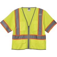 FREE SHIPPING — Gravel Gear HV Men's Class 3 High Visibility 6-Pocket Vest — Lime