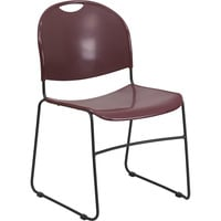Flash Furniture Plastic Stack Chair with Sled Base, 19.5in.W x 20.75in.D x 31in.H