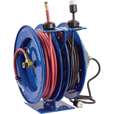 Coxreels Combo Air and Electric Hose Reel — With Incandescent Cage Light Attachment and 3/8in. x 50ft.  PVC Hose, Max 300 PSI, Model# C-L350-5016-E