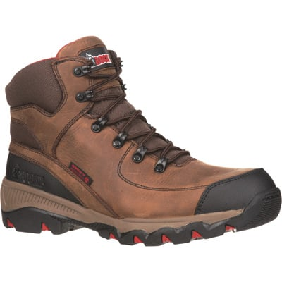 Rocky Adaptagrip Waterproof Insulated Composite Toe 6in. Boots —  Brown/Red, Size 11 1/2 Wide, Model# RKYK102