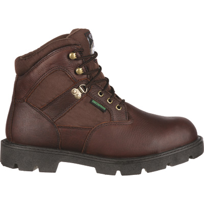 FREE SHIPPING — Georgia Homeland Waterproof 6in. Steel Toe Work Boots - Brown, Size 9 1/2, Model# G105
