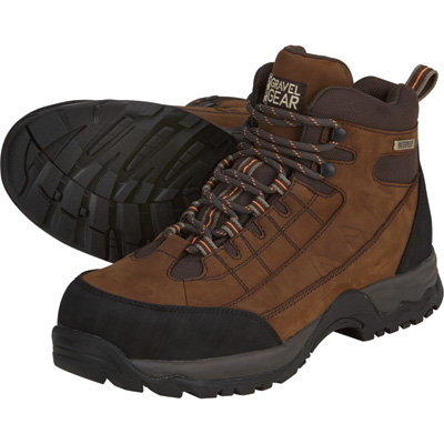 FREE SHIPPING - Gravel Gear Men's Waterproof Nubuck 6in. Hikers - Brown, Size 8 1/2