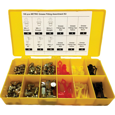 Zee Line Metric Grease Fitting Kit — 100-Pc., Model# 10066M