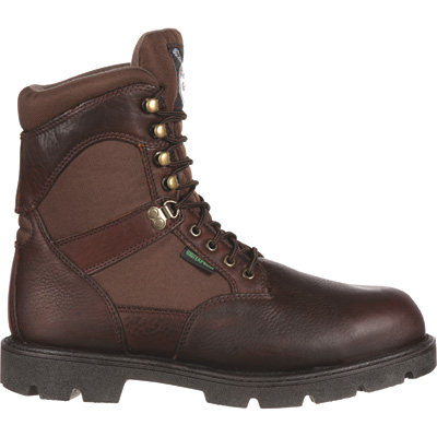 FREE SHIPPING — Georgia Homeland Waterproof Insulated 8in. Soft Toe Work Boots - Brown, Size  9 1/2, Model# G109