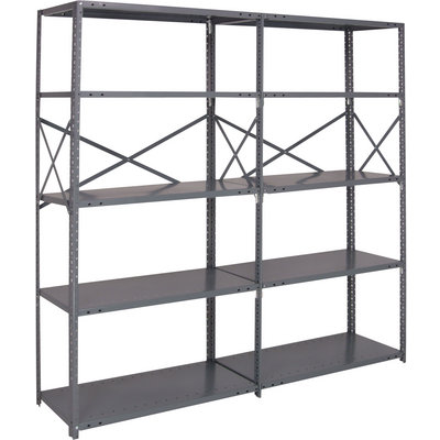 Quantum Heavy-Duty 18-Gauge Industrial Steel Shelving — 7 Shelves, 36in.W x 12in.D x 87in.H, Model# 18G-87-1236-7