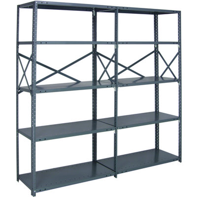 Quantum Heavy-Duty 18-Gauge Industrial Steel Shelving — 6 Shelves, 48in.W x 18in.D x 99in.H, Model# 18G-99-1848-6