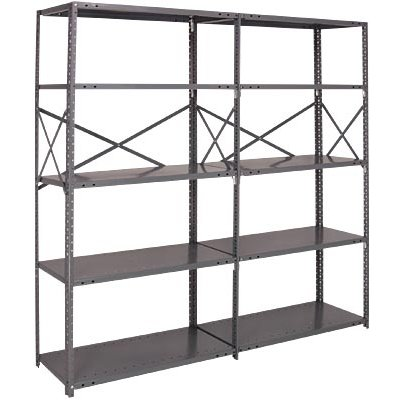 Quantum Heavy-Duty 20-Gauge Industrial Steel Shelving — 6 Shelves, 36in.W x 18in.D x 99in.H, Model# 20G-99-1836-6