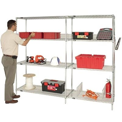 Quantum Chrome Wire Shelving Starter Kit — 42in.W x 14in.D x 54in.H, Model# WR54-1442C