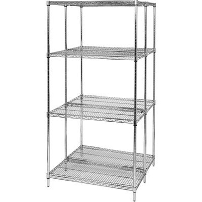 Quantum Chrome Wire Shelving Starter Kit — 24in.W x 14in.D x 74in.H, Model# WR74-1424C
