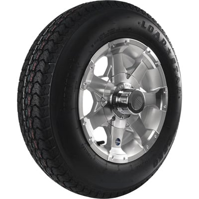 Kenda Loadstar Aluminum 13in. Bias-Ply Trailer Tire and Wheel Assembly — ST175/80D-13, 5-Hole, Load Range C, Model# DM175D3C5C7S