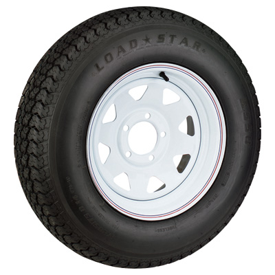 FREE SHIPPING — Kenda Loadstar 15in. Radial Trailer Tire and Wheel Assembly — ST225/75R-15, 5-Hole, Load Range C, Model# DM225R5C-5CI