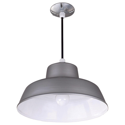 Canarm Suspended Ceiling Barn Light 14 3/8in. Dia., 120 Volts, 300 Watts, Gray, Model# BL14CL