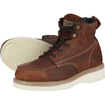 FREE SHIPPING - Gravel Gear Men's 6in. Moc Toe Wedge Boot - Brown, Size 8 1/2