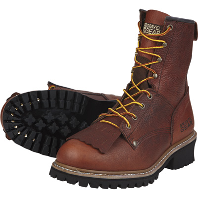 FREE SHIPPING - Gravel Gear Men's 8in. Logger Boots - Brown, Size 10 Wide