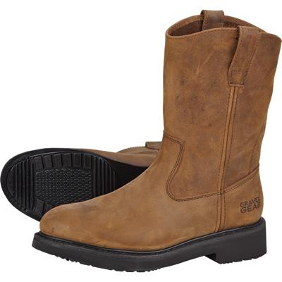 FREE SHIPPING - Gravel Gear Men's 10in. Steel Toe Wellington Boot - Crazy Horse Brown, Size 10 1/2 Wide