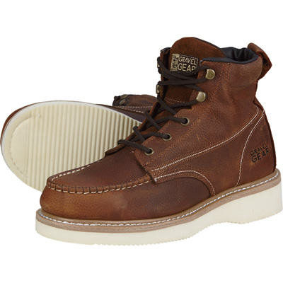 FREE SHIPPING - Gravel Gear Men's 6in. Steel Toe Moc Boots - Size 9 1/2, Brown, Model# NT1772-1ST