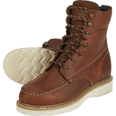 FREE SHIPPING - Gravel Gear Men's 8in. Moc Toe Wedge Work Boots - Brown, Size 10