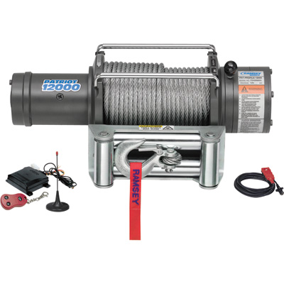 Ramsey Patriot Profile 12 Volt DC Powered Electric Truck Winch with Wireless Remote — 12,000-Lb. Capacity, Wire Cable, Model# 109196