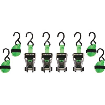 """SmartStraps RatchetX Aluminum Tie-Downs - 14ft.L, 1,500-Lb. Breaking Strength, 4-Pack, Green, Model# 345"""