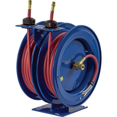 Coxreels Dual Air Hose Reel — With 1/4in. x 50ft. PVC Hoses, Max. 300 PSI, Model# C-LP-150-150