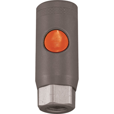 """Milton M-Style Safety Coupler - Push Button, 1/4in. FNPT M-Style, Model# S99705"""
