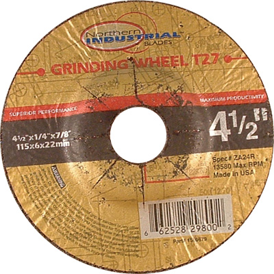 FREE SHIPPING - Northern Industrial Type 27 Premium Depressed Center Angle Grinder Wheel - 4 1/2in. dia.