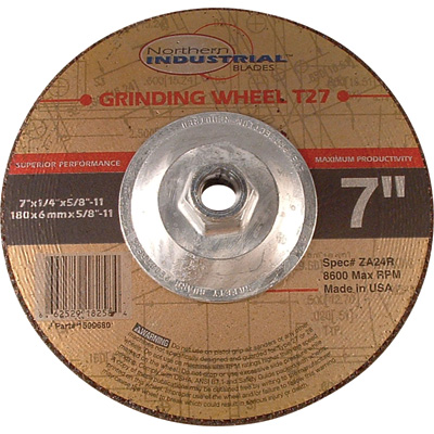 FREE SHIPPING - Northern Industrial Type 27 Premium Depressed Center Angle Grinder Wheel - 7in. dia.