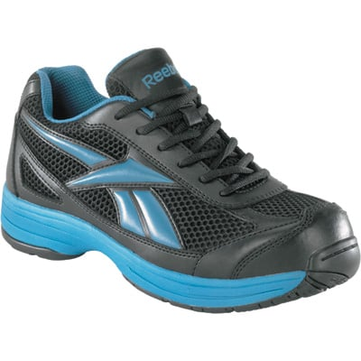 Reebok Men's Cross Trainer Steel Toe EH Work Shoe -  Black/Blue, Size 7 1/2, Model# RB1620