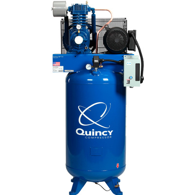 Quincy QP-7.5 Pressure Lubricated Reciprocating Compressor — 7.5 HP, 230 Volt, 3 Phase, 80 Gallon Vertical, Model# 373DS80VCA23