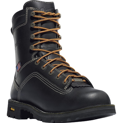 FREE SHIPPING — Danner Quarry 8in. Gore-Tex Waterproof Work Boots - Black, Safety Toe, EH, Size 10 Wide, Model# 173097D