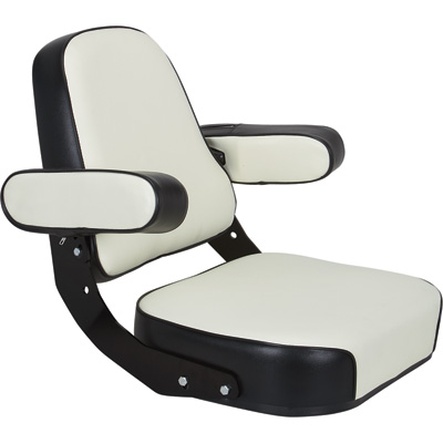 K & M Mfg Super Deluxe Seat Assembly for IH 06-66 Series Tractors — Black and White, Model# 7163