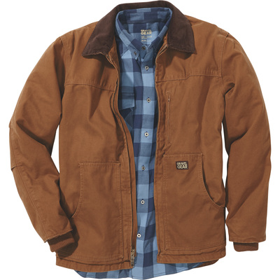 FREE SHIPPING - Gravel Gear Men's Washed Duck Chore Coat - Brown, XL