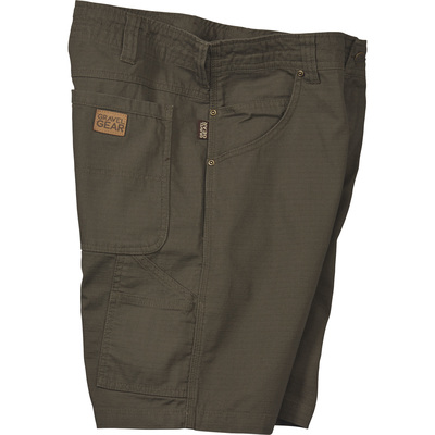 FREE SHIPPING — Gravel Gear Ripstop Carpenter Work Shorts with Teflon Fabric Protector — Moss, 42 Waist