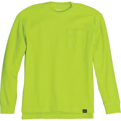 FREE SHIPPING — Gravel Gear Men's Warrior Stain-Resistant Long Sleeve Pocket T-Shirt with Teflon Fabric Protector — Lime, 2XL