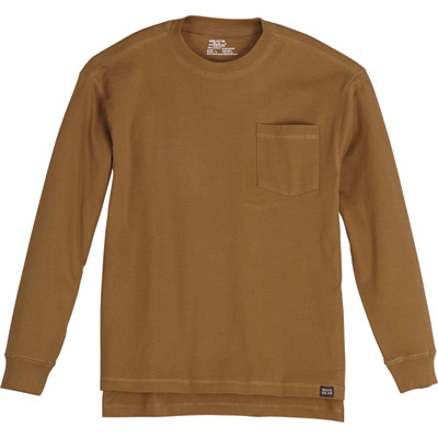 FREE SHIPPING - Gravel Gear Men's Warrior Stain-Resistant Long Sleeve Pocket T-Shirt with Teflon - Khaki, 3XL
