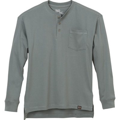 Gravel Gear Men's Warrior Long Sleeve Henley Shirt with Teflon - Slate, XL