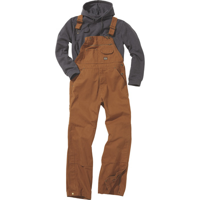 FREE SHIPPING — Gravel Gear Men's Unlined 12-oz. Duck Overalls with Teflon Fabric Protector — Brown Duck, 36in. Waist x 32in. Inseam