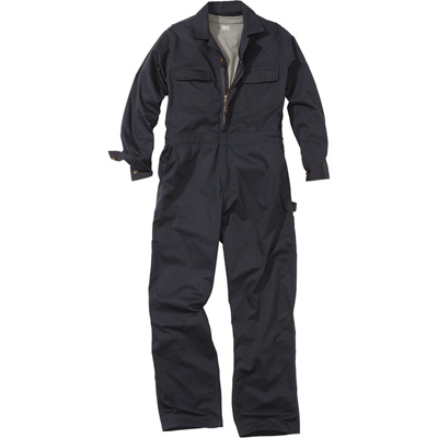 FREE SHIPPING — Gravel Gear Men's Premium Unlined Poly/Cotton Twill Coveralls with Teflon Fabric Protector — Navy, XL Tall