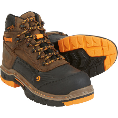 Wolverine Men's Overpass 6in. Waterproof Work Boots, CarbonMAX Safety Toe — Dark Brown, Size 8, Model# W10717