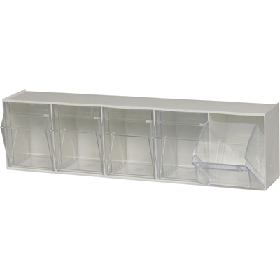 Quantum Storage Clear Tip Out Storage Bin — 5 1/4in. x 23 5/8in. x 6 1/2in. Size, White, 5-Bin System