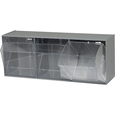 Quantum Storage Tip Out Storage Bin — 7 3/4in. x 23 5/8in. x 9 1/2in. Size, Gray, 3-Bin System