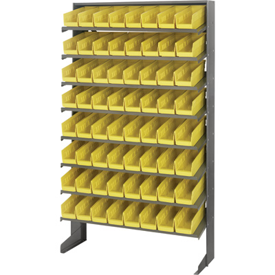 Quantum Storage Single Side Sloped Storage Shelves With 64 Bins — 12in. x 36in. x 60in. Rack Size, Yellow, Model# QPRS-101 YW